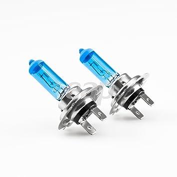 Juego de dos bombillas halógenas H7 (55 W, 12 V, 8500K, luz súper blanca, efecto xenón, ...