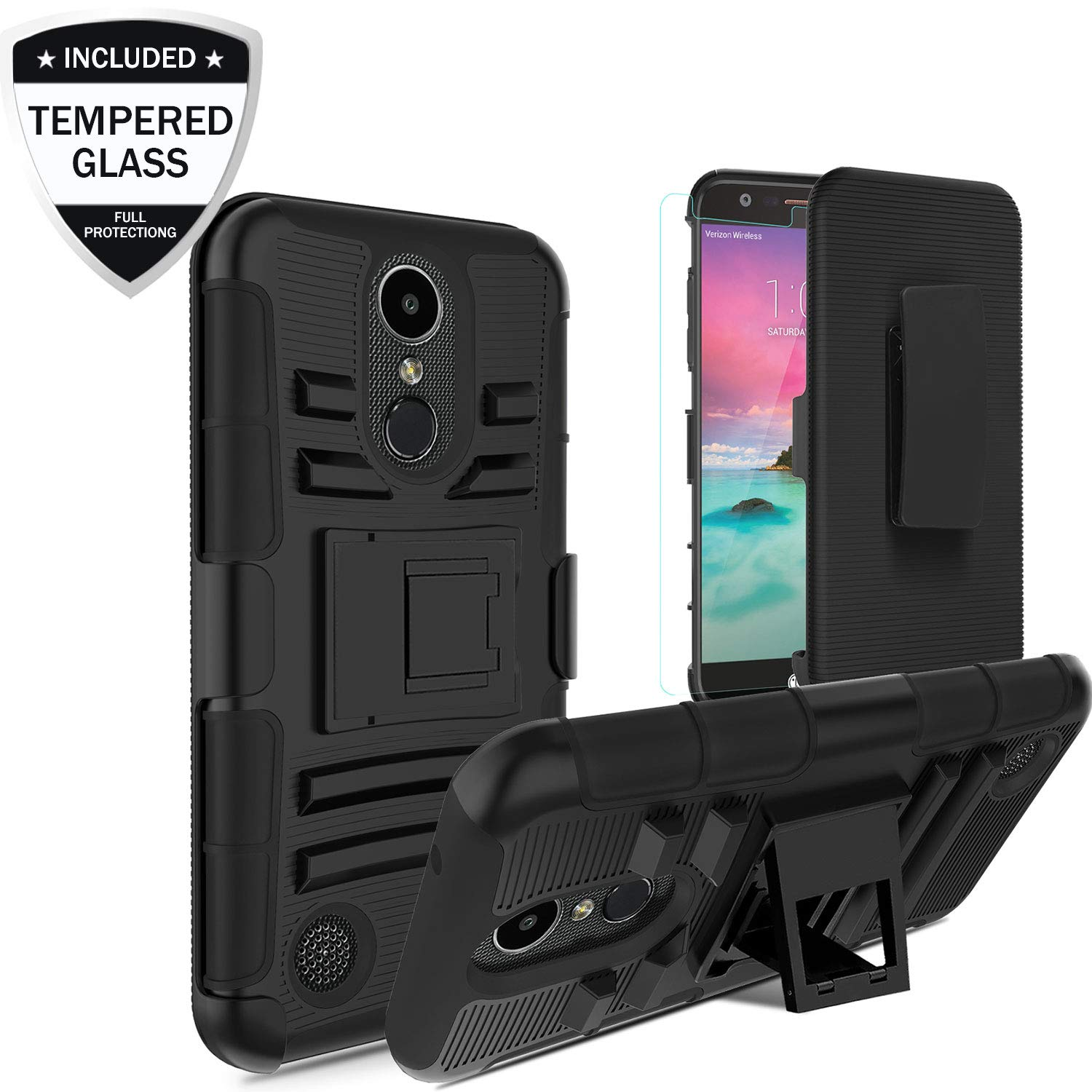 LG K20 Plus Case, LG K20 V/Grace LTE/Harmony/K10 2017/LV5/K20 Case w/Tempered Glass Screen Protector, Heavy Duty Shockproof Protective Hybrid Case Cover w/Swivel Belt Clip Holster Kickstand, Black
