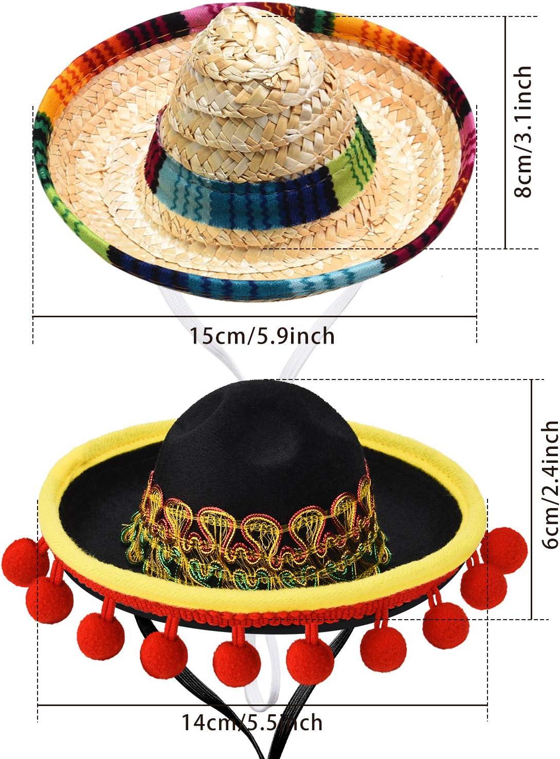 SATINIOR 6 Pezzi Mini Cappello Messicano Carino Cappello di Paglia Messicano Divertente Cappello Messicano Piccolo per Fiesta Bomboniere di Feste a Tema Messicano con Decorazioni Estive di Carnevale