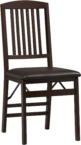 Linon Triena Mission Back Set of 2 Folding Chair, 17 w x 20 d x 36 h, Brown