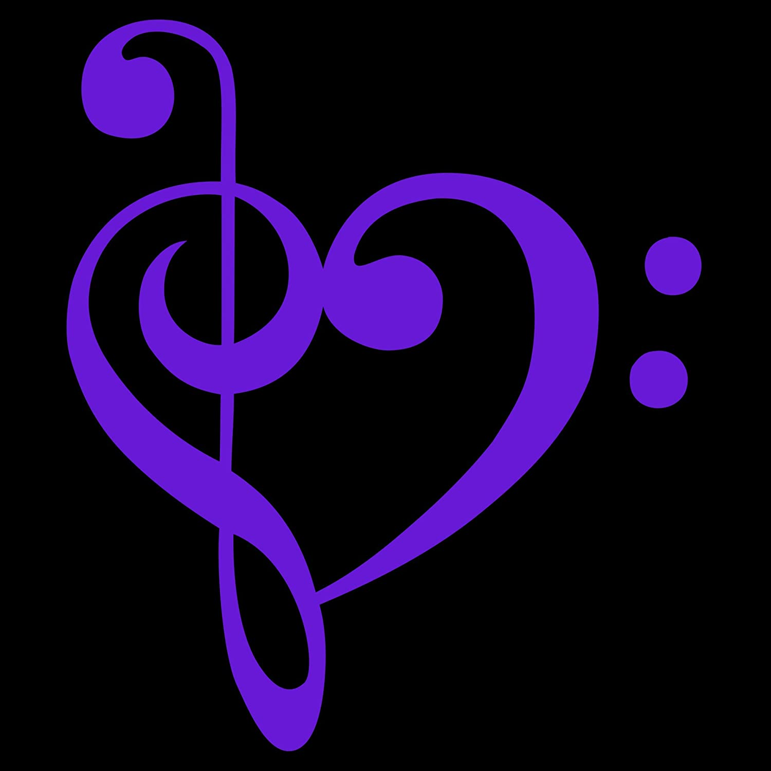 TREBLE BASS CLEF HEART Vinyl Decal Sticker for Laptop Ipad Window Wall Car Truck Motorcycle Lavender, 3.5