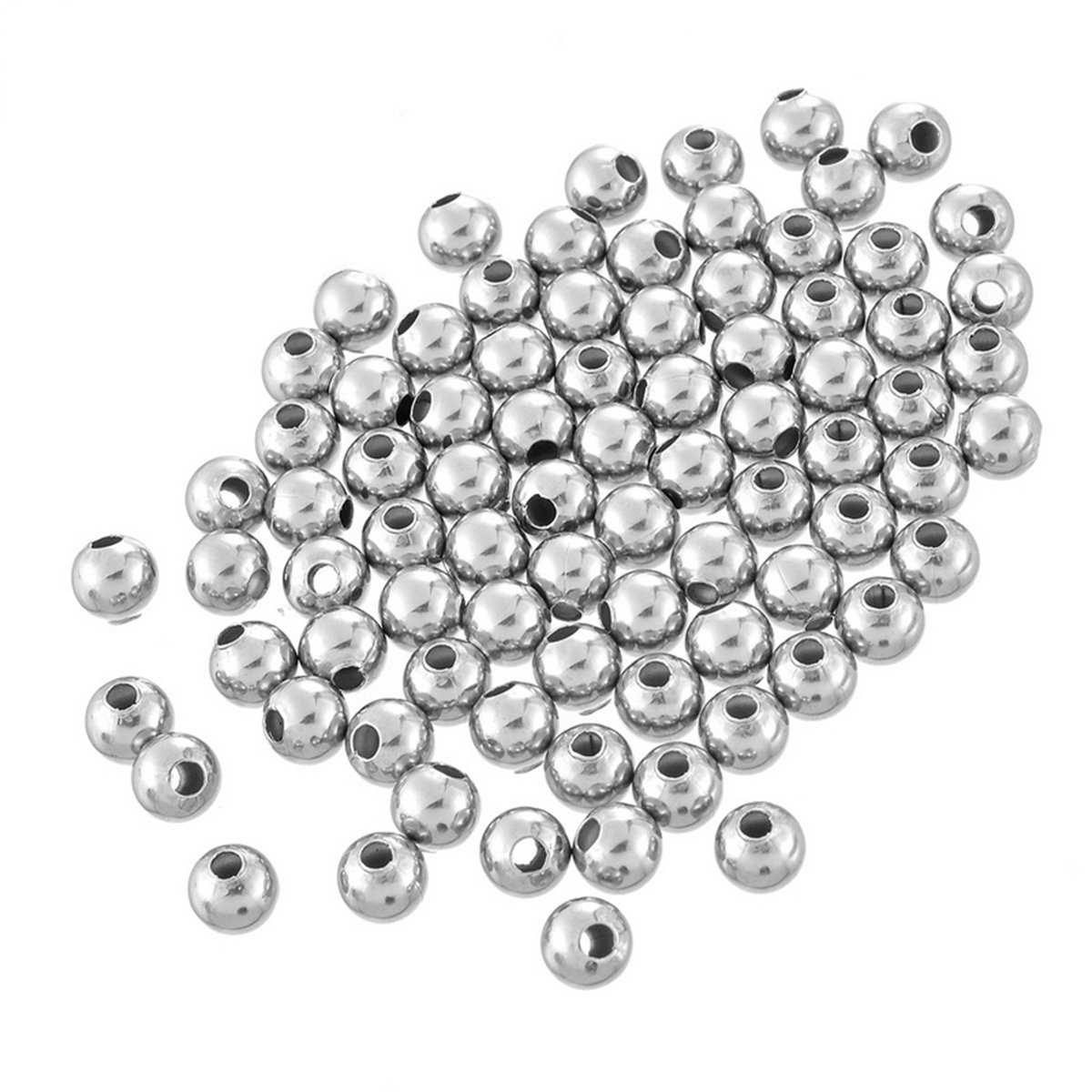 HOUSWEETY Stainless Steel Jewelry Finding Hollow Round Spacer Beads for Jewelry Making HOUSWEETYHS86584