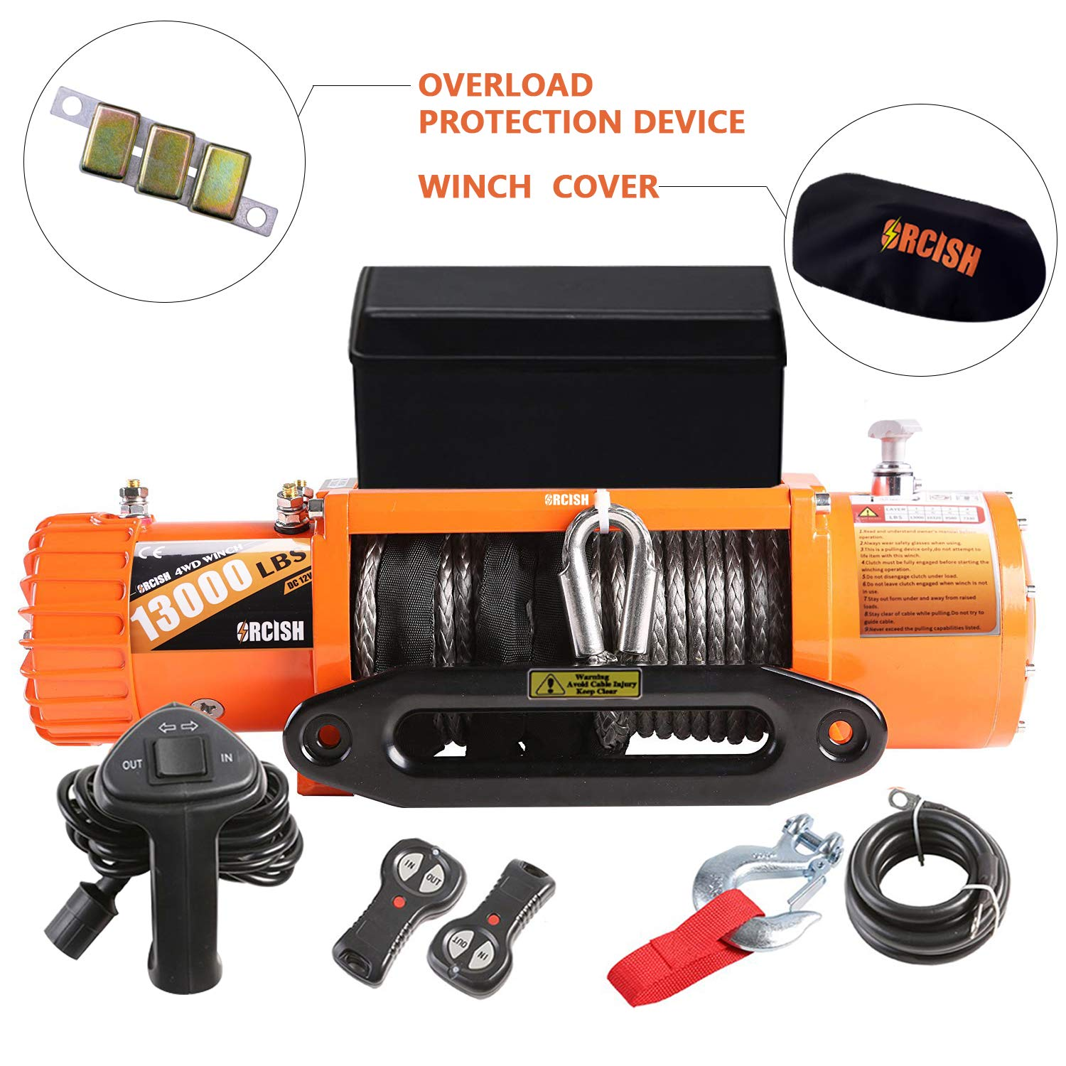 ORCISH 13000lb IP67 Waterproof Winch Synthetic Rope Electric Jeep Truck Winches by ORCISH