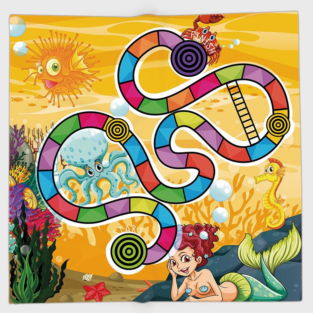 Cotton Microfiber Hand Towel,Board Game,Fantastic Aquatic Concept Mermaid Octopus Seahorse Bubble Fish Coral Reef Fun,Multicolor,for Kids, Teens, and Adults,One Side Printing