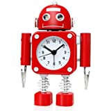 """Betus Non-ticking Robot Alarm Clock Stainless Metal - Wake-up Clock with Flashing Eye Lights and Hand Clip - 4.5"""" x 6.5"""" x 2"""" (Ruby Red)"""