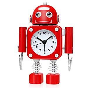Betus Non-Ticking Robot Alarm Clock Stainless Metal - Wake-up Clock with Flashing Eye Lights and Hand Clip (Ruby Red)