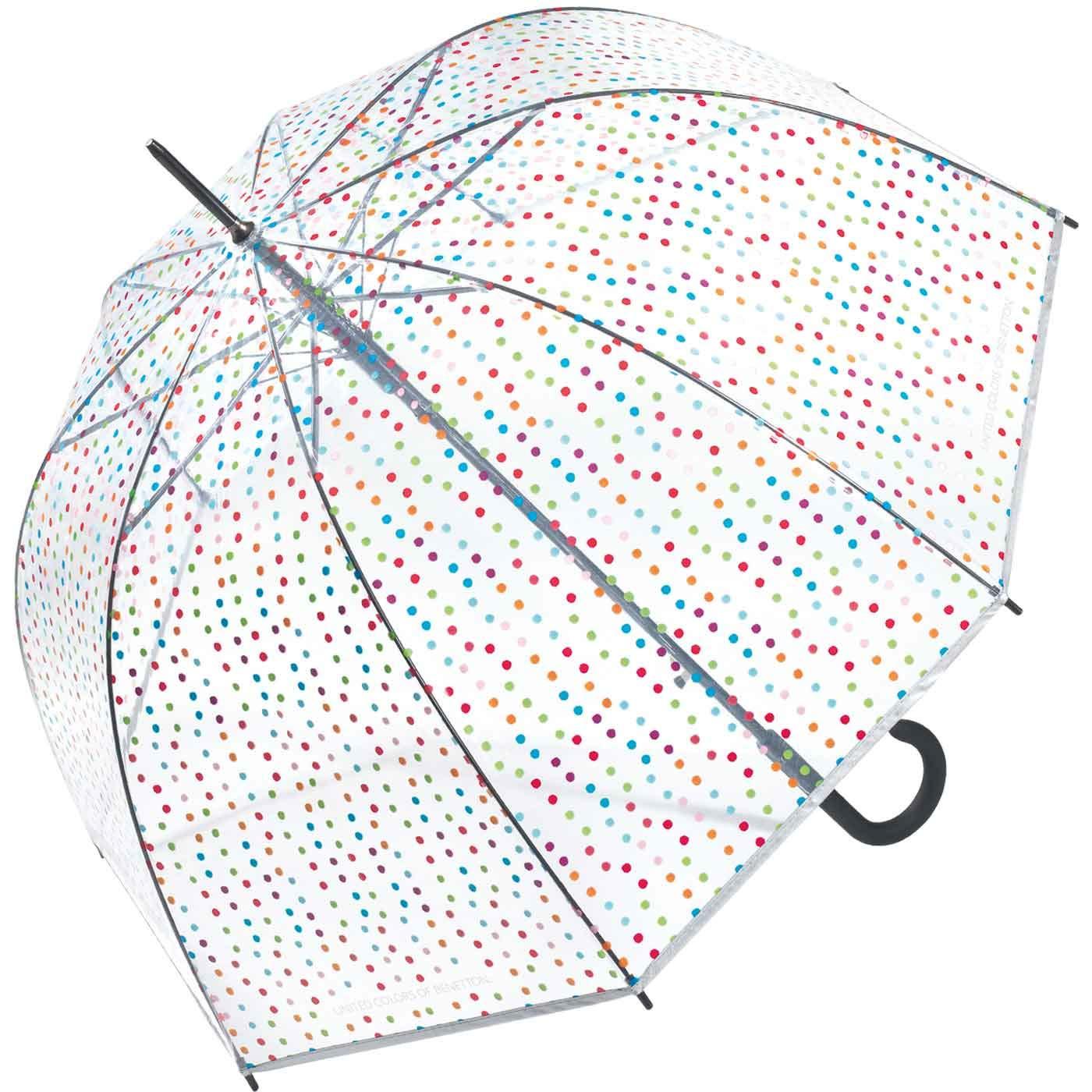 Divertido paraguas con lunares de colores y forma de campana.