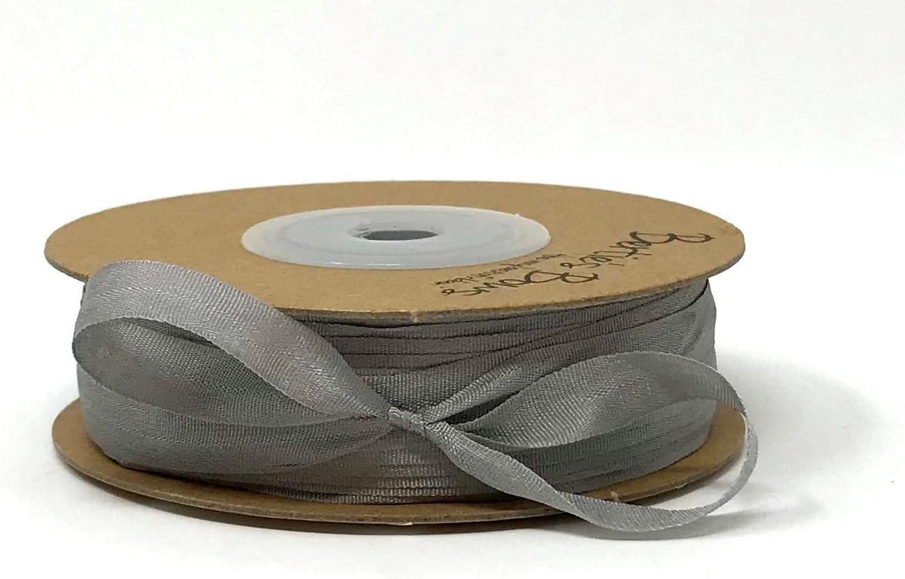 Berties Bows Cinta de Seda Natural de 7 mm de Color Gris con 3 m de Longitud (N.B. Se Trata de un Corte de un Rollo, presentado en una Tarjeta de Cinta):