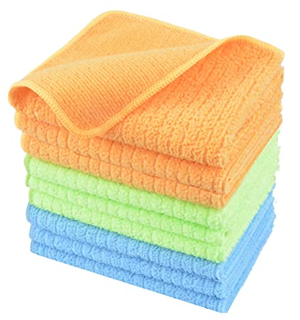 Kinhwa Microfiber Wash Cloth Kitchen Rags Fast Drying Dish Cloths Soft Cleaning Cloth For Dishes With Stripe Blue3 Green3 Orange3 12inch X 12inch
