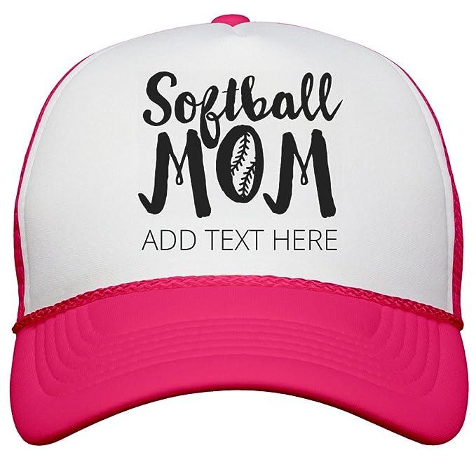 ae5d7e7c1 Amazon.com: Proud Softball Mom Custom Text: Neon Snapback Trucker ...