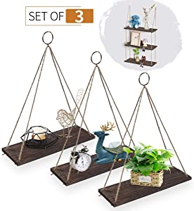 AGSIVO Hanging Shelves Wall Mounted Wood Shelves with 3 Rings Lightweight and Durable Farmhouse Rope Shelves for Living Room Bedroom Bathroom Kitchen