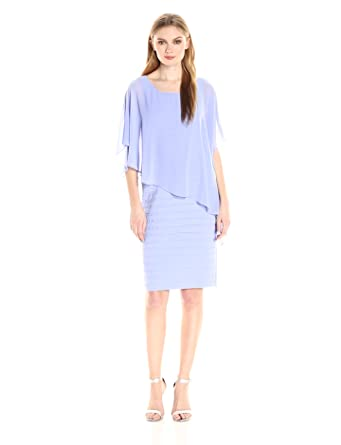 4bc70ccf6d7f Adrianna Papell Women's Chiffon Drape Overlay with Banding, Wisteria, ...