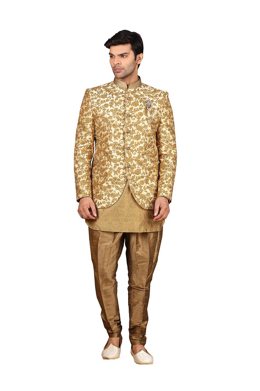 Sakalas Mens Indo Western Wedding Fawn Designer Partywear Traditional R-25439