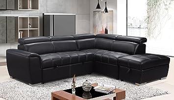 Sofá y cama de la fábrica Rienzo grande de piel negra con ...