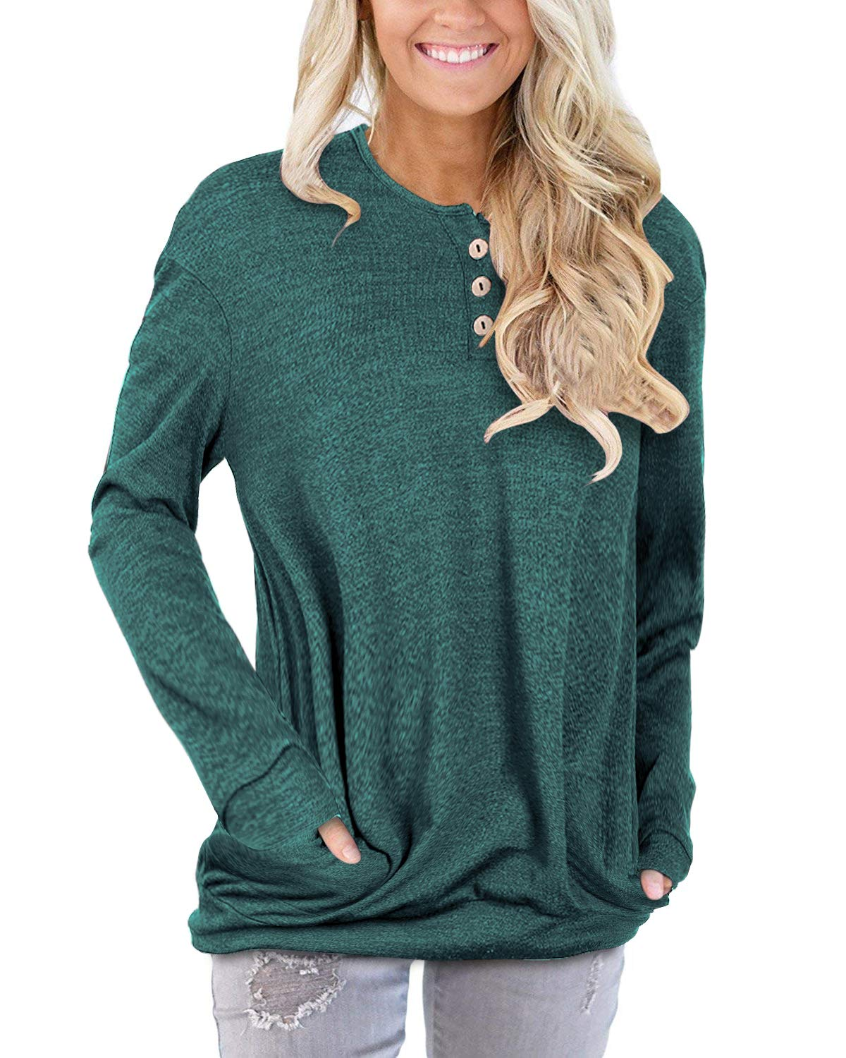 STYLEWORD Women's Long Sleeve Casual Tunic Shirt Tops with Pockets(Green,M)