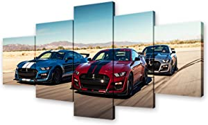 Ford Mustang Poster American Muscle Sports Car HD Print on Canvas Painting Wall Art for Living Room Decor Boy Gift (With Frame, Ford Mustang 1)