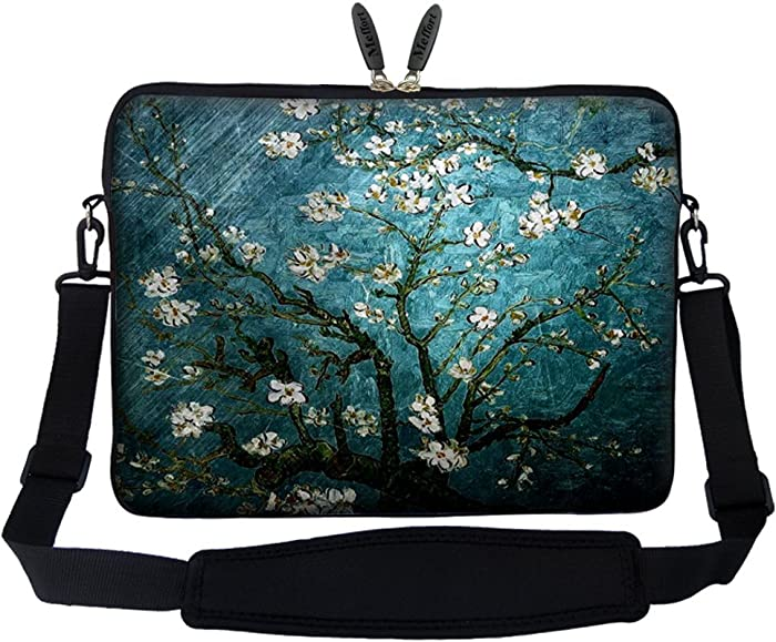 Meffort Inc 15 15.6 inch Neoprene Laptop Sleeve Bag Carrying Case with Hidden Handle and Adjustable Shoulder Strap - Vincent Van Gogh Almond Blossoming