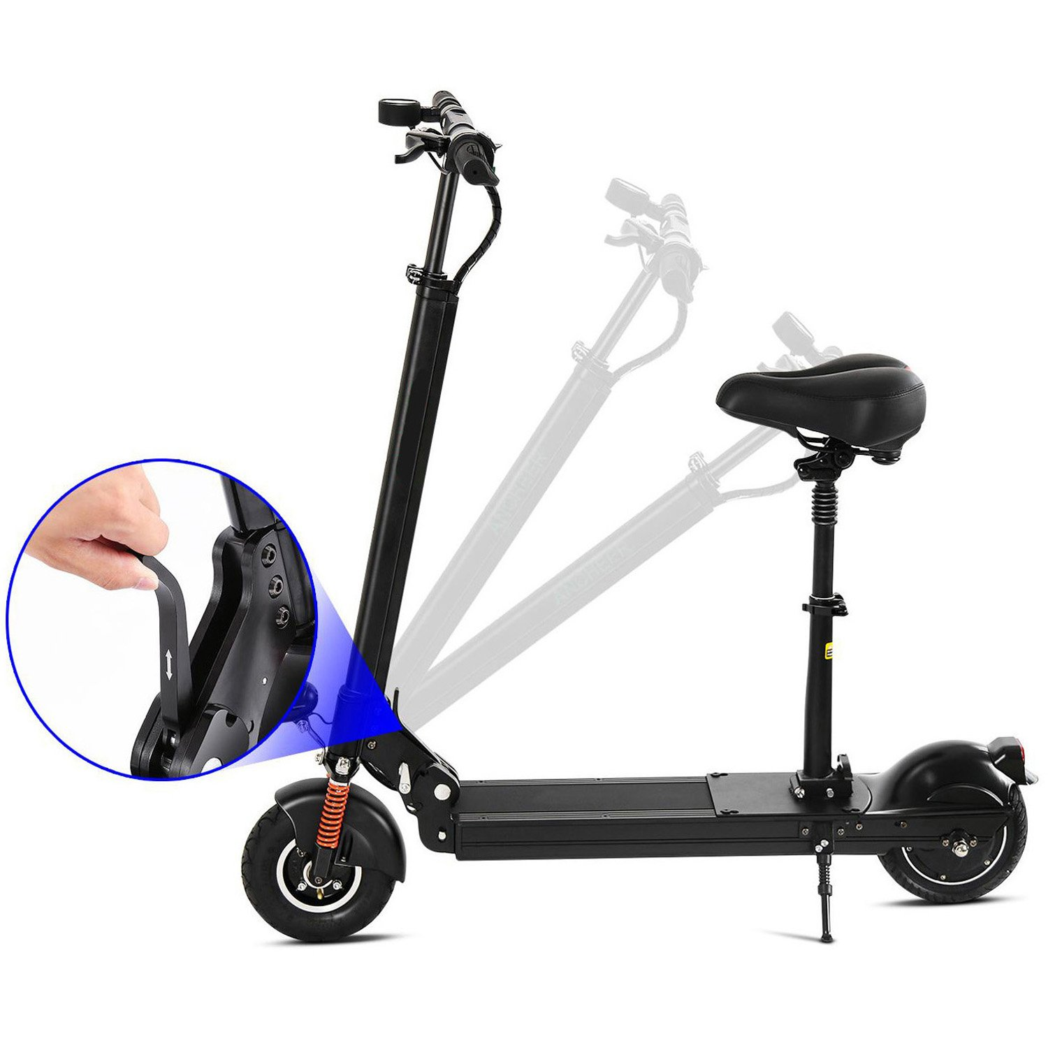 Electric Scooter with Retractable Seat, Easy Fold-n-Carry Design Kick Scooter with Li-Ion Battery and Headlight Taillight for Adults Teens (US STOCK)