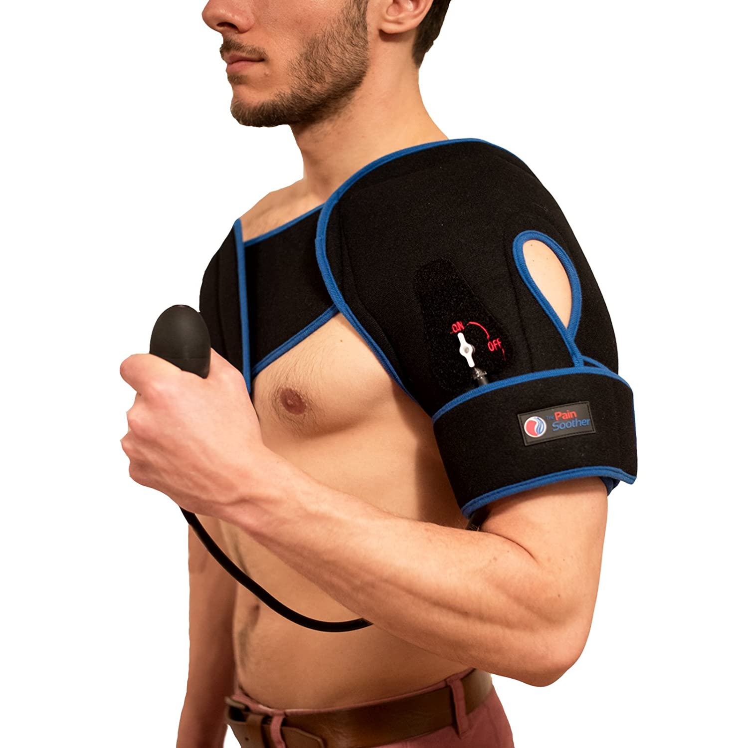 Reusable Shoulder Ice Pack - Premium Cold Therapy Compression with Pump with Extra Long Strap - Good for Rotator Cuff, Sprains, Sports Injuries, Arthritis, Impingement Pain and More