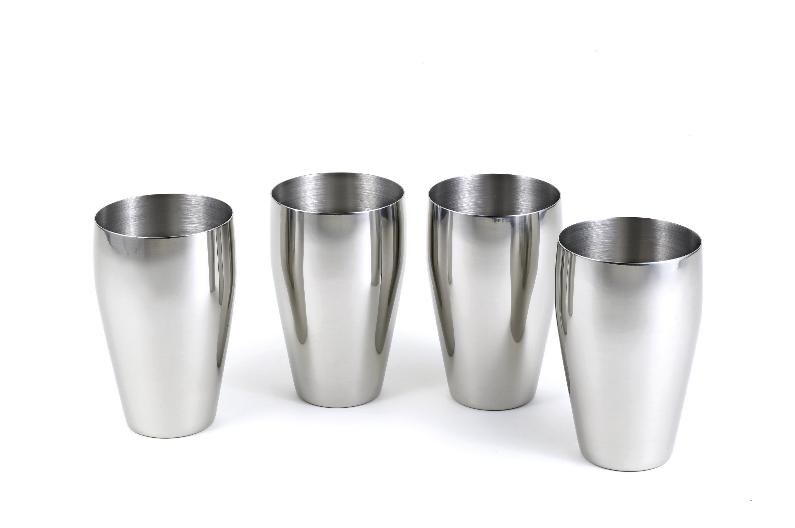 StainlessLUX 77334 4-Pc Brilliant Stainless Steel Drinking Glass / Tumbler / Pub Glass Set - Quality Drinkware for Your Enjoyment