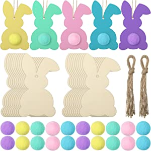 Yalikop 20 Pieces Unfinished Wood Bunny Cutouts with 20 Colorful Felt Balls, Hanging Rabbit Cutouts Rabbit Shape Craft Tags Wooden Pendant Ornaments, 20 Ropes and Adhesive Dots for DIY Easter Craft