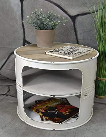 Livitat® Couchtisch Beistelltisch Weiß Metall Ölfass Vintage Industrie Look  LOFT Shabby LV5024