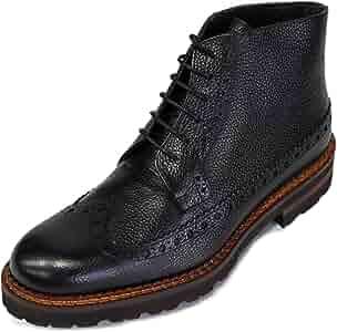 Details about  /Calzoleria Toscana Italian Made Black pebble grain leather Boot E485 - Carole