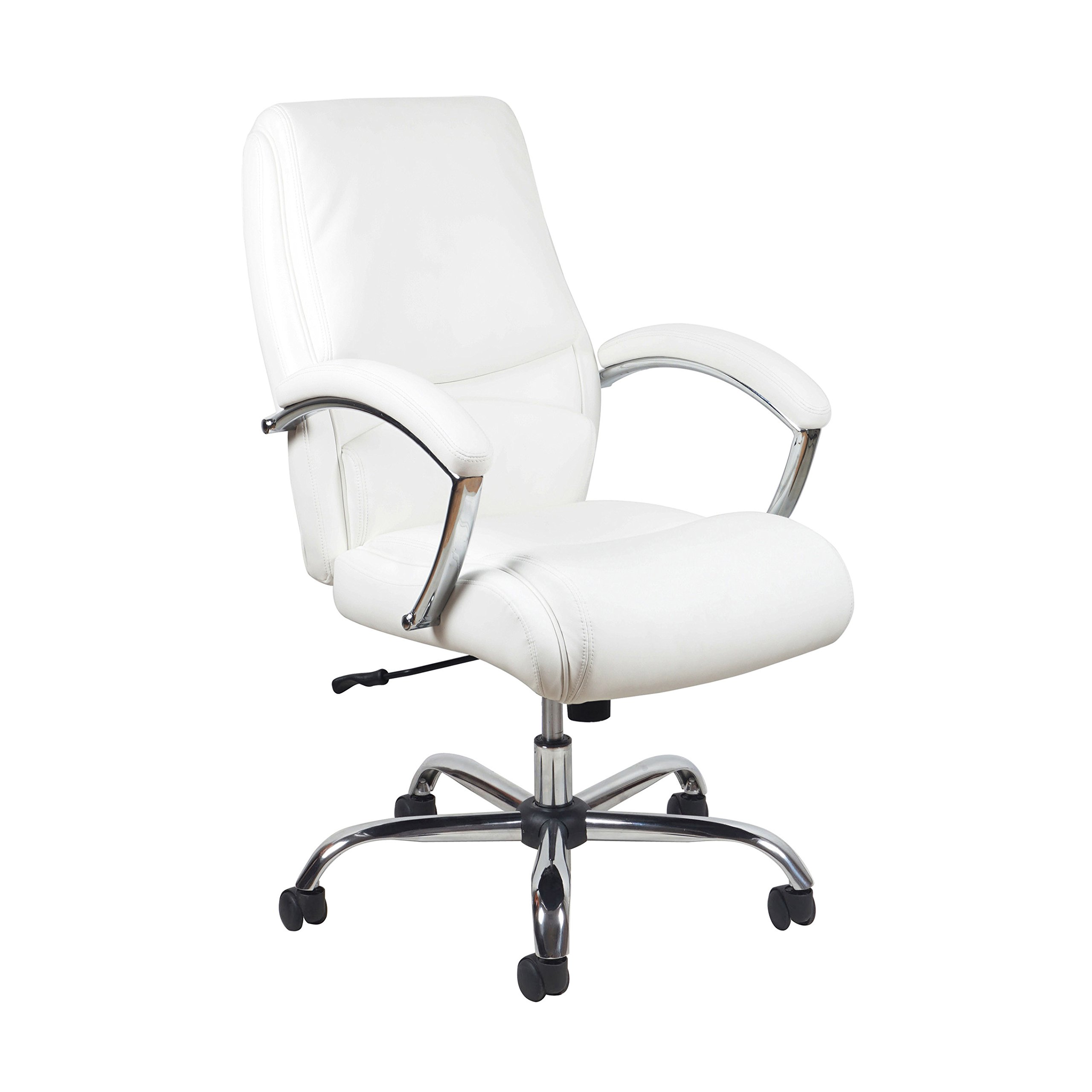 Essentials High-Back Leather Executive Office/Computer Chair with Arms - Ergonomic Adjustable Swivel Chair, White/Chrome (ESS-6070)