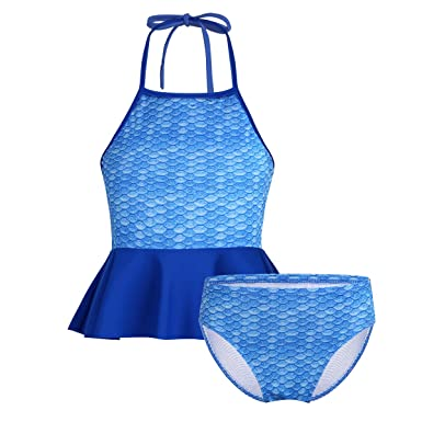 1f53ec68c0763 TiaoBug Kids Girls 2PCS Tankini Bikini Mermaid Swimsuit Swimwear Bathing  Suit Halter Tops with Bottom Set