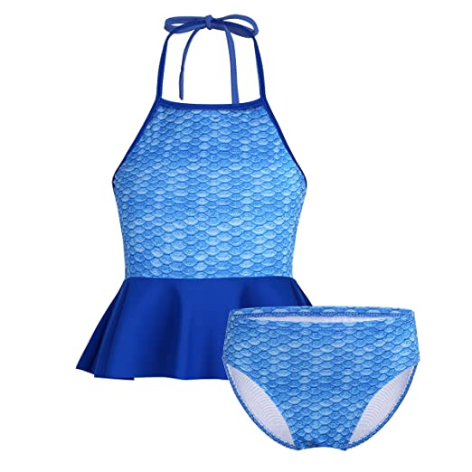 c506d5045d25f Freebily Kids Girls Mermaid Swimming Costumes Two-Piece Tankini Swimsuit  Halter Tops with Bottoms Shorts