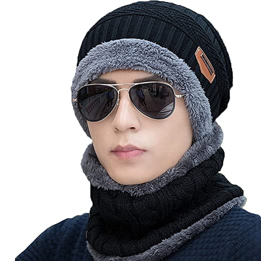 a0127120549 CoKate 2-Pieces Winter Beanie Hat Scarf Set Warm Knit Hat Thick Knit Skull  Cap