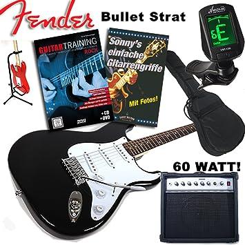 """s de guitarra Fender Original """"Rock Entrenamiento Juego"""" Squier Bullet Strat Negro"""