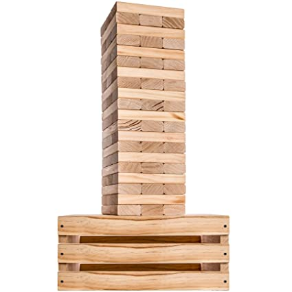 Splinter Woodworking Co Giant Tower Game 60 Large Blocks Storage Crate Outdoor Game Table Starts Over 25ft Big Max Height Of 5ft Genuine