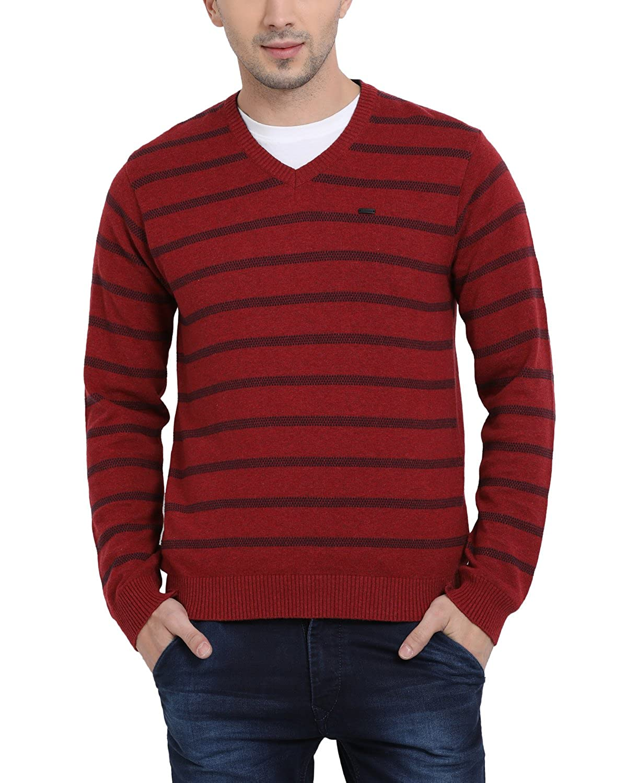 t base Men's Red V Neck Stripe Sweater Sweater for Mens