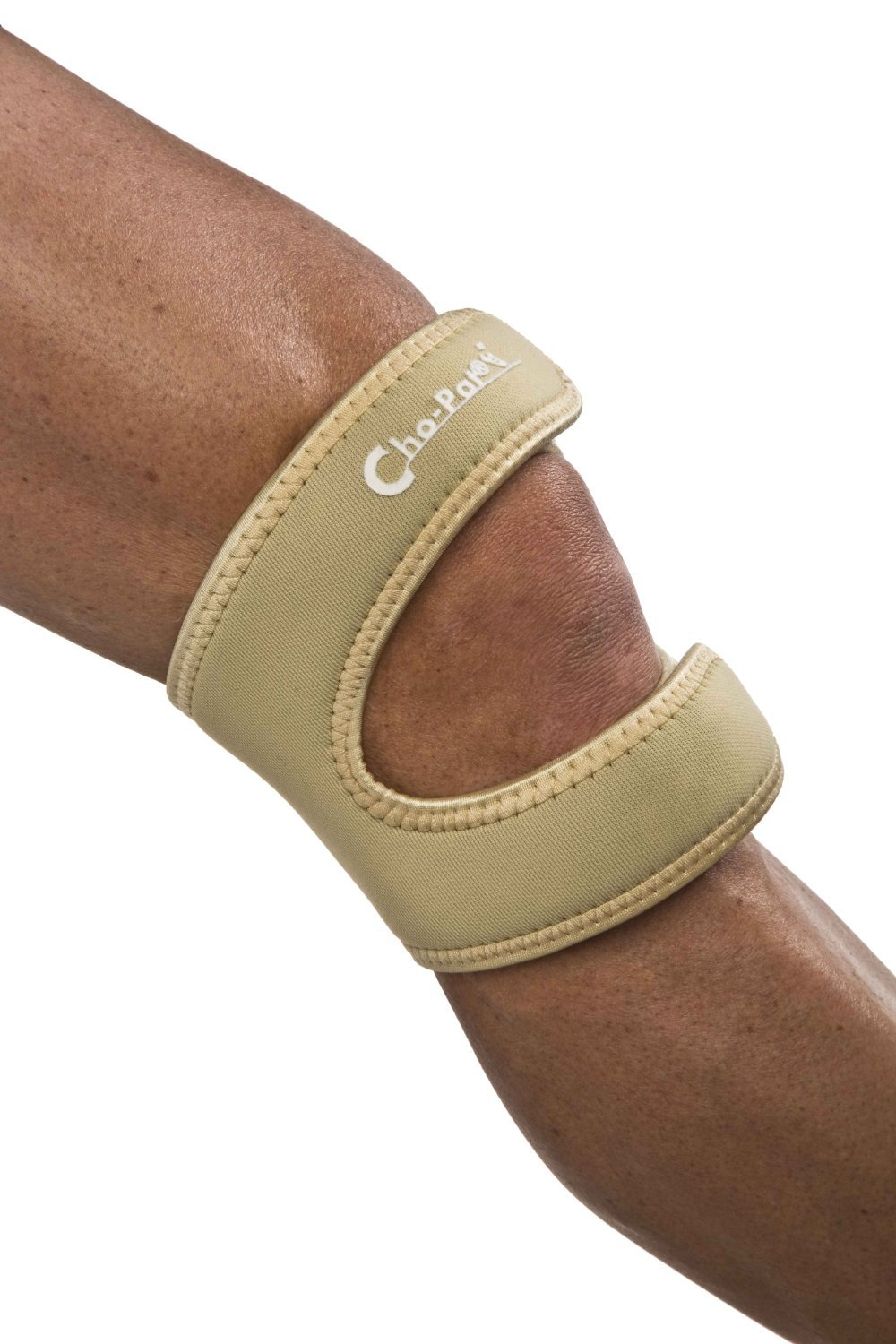 Cho-Pat Dual Action Knee Strap - Provides Full Mobility & Pain Relief For Weakened Knees - Tan (Medium, 14''-16'')