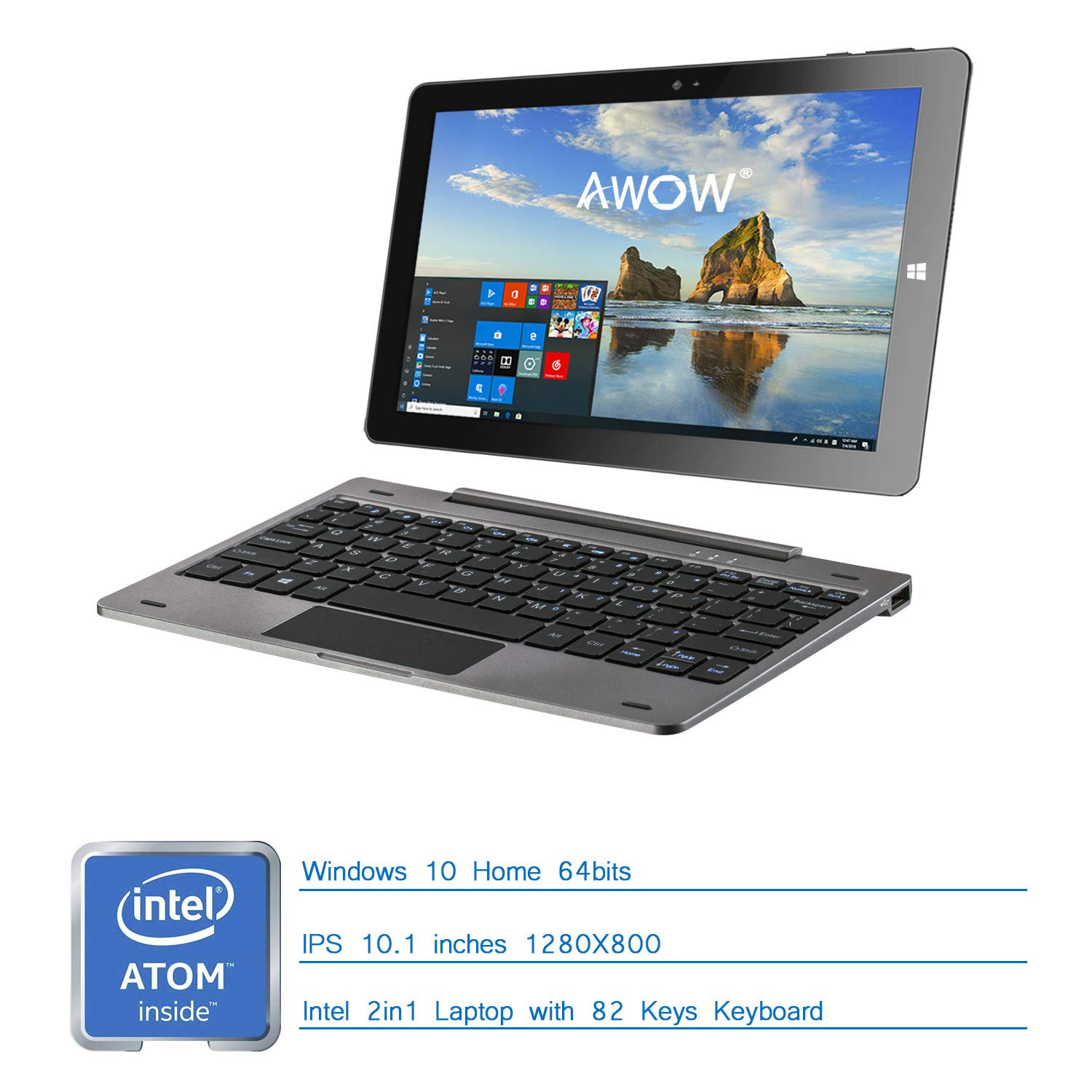 2-en-1 Tablet PC Laptop 10.1 Pulgadas IPS Touch Screen 1280X800 Resolucišn 4GB RAM/32GB ROM Windows 10 - AWOW SimpleBook Intel Atom CPU y Front 2.0MP/Rear ...