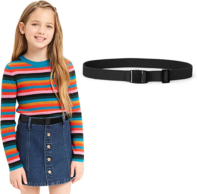 BiBest No Buckle Kids Elastic Free Belts for Toddlers Pack of 2 Adjustable Stretch Belts for Boys and Girls