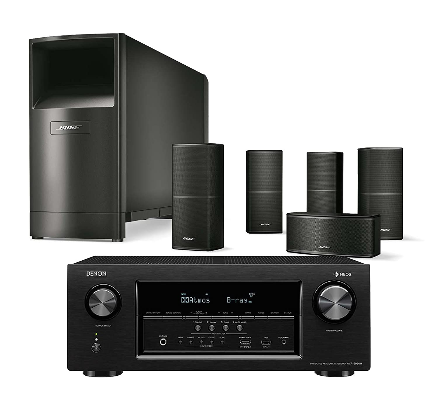 Amazon.com: Bose Acoustimass 10 Series V Wired Home Theater Speaker System,  Black, with Denon AVRS930H WiFi AV Receiver: Electronics