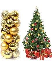 da65fc8b124 Magicfun 24 Piezas Bolas de Navidad Adornos de Bola de Navidad  Inastillables Brillante árbol de Navidad