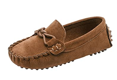 55ba16e8334 WUIWUIYU Boys  Girls  Casual Cute Suede Slip-On Loafers Moccasins Shoes  Brown Size