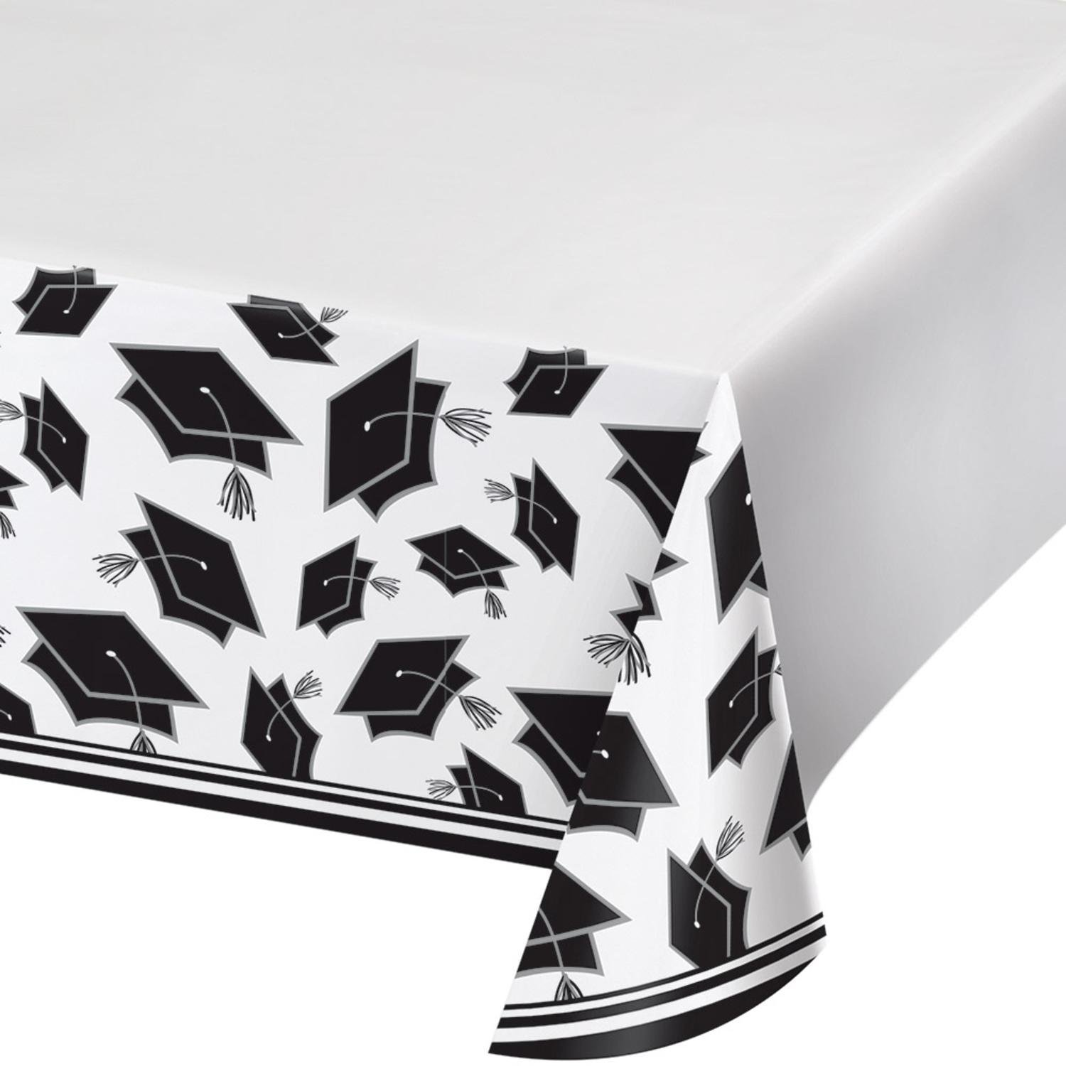 Party Central Club Pack of 12 Black and White School Spirit Theme Decorative Table Cover 102''