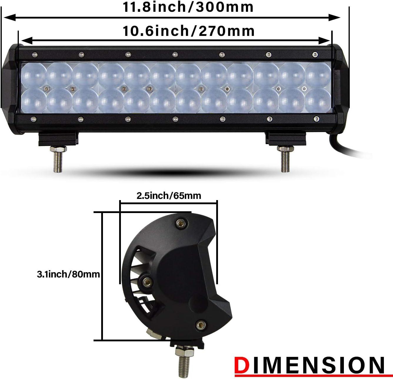SKYWORLD 20 pulgada 50cm Barra de luz LED Ojo de pez recto 126W Luces de trabajo de punto de inundaci/ón de alto brillo Luces de trabajo Offroad con arn/és de cableado de 10 pies para cami/ón SUV 4X4 ATV