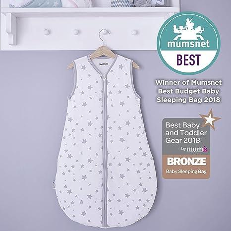 Silentnight seguro noches sueño para bebé, 0 – 6 meses, Gris Estrellas Grey Stars