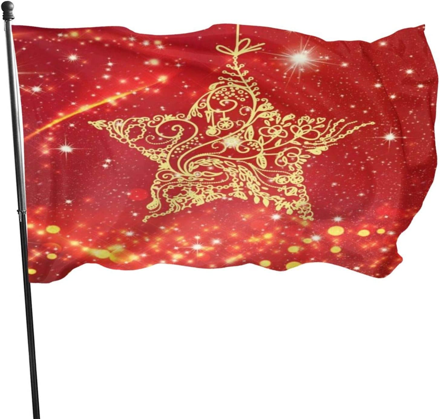 red Star Abstract Beautiful Christmas Home Garden Flag Polyester Flag Indoor/Outdoor Wall Banners Decorative Flag 3x5 Foot