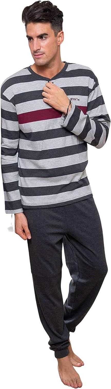 MUSLHER Pijama de Invierno para Hombre listado Azul Marino