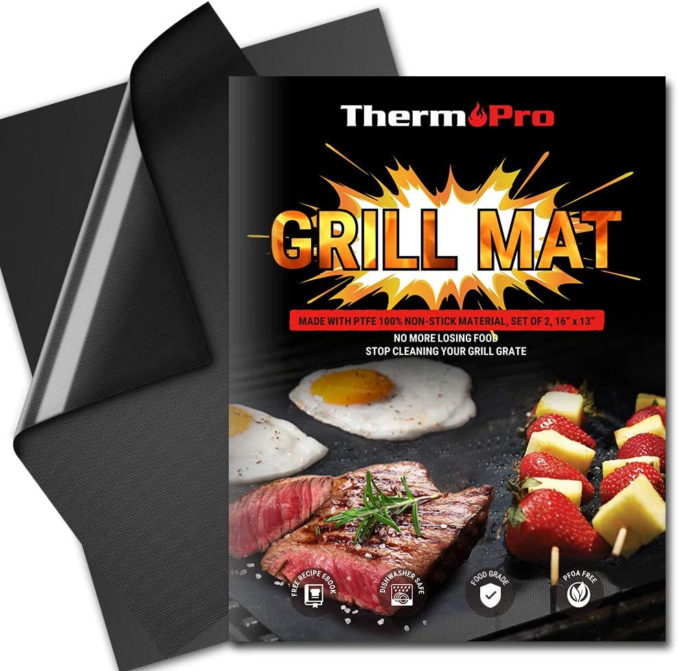 ThermoPro TP932 BBQ Grill Mat Set of 2 Grill Mats Non Stick Reusable Heavy-Duty Barbecue Baking Grilling Mats for Gas Charcoal Grill Outdoor Grilling Accessories