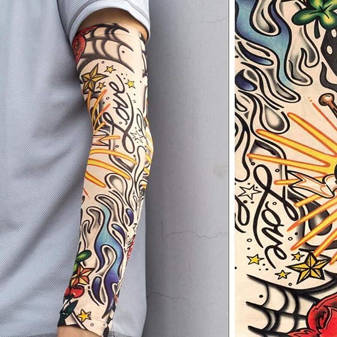 Sola manga del tatuaje, manga del tatuaje temporal para el baloncesto de ciclo para los hombres y las mujeres: Amazon.es: Ropa y accesorios