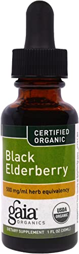 Black Elderberry Certified Organic Extract Gaia Herbs 1 oz Liquid