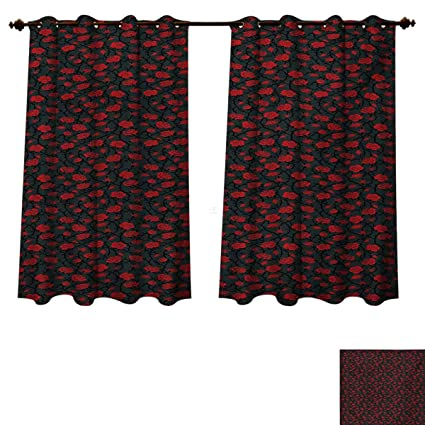 Amazoncom Red And Black Blackout Thermal Backed Curtains For