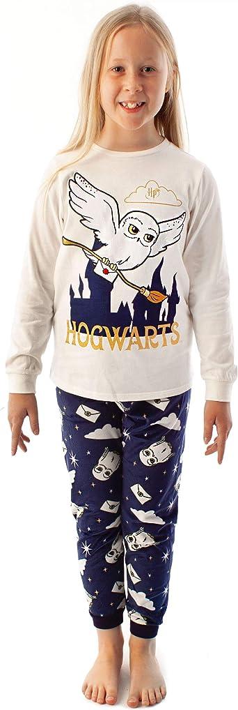 HARRY POTTER Pijamas Girls Hedwig Manga Larga Camiseta y Pantalones de vellones